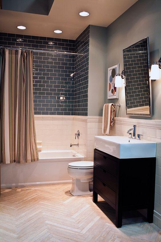Carrelage metro noir salle de bain min as de carreaux le blog - Carrelage salle de bain noir ...