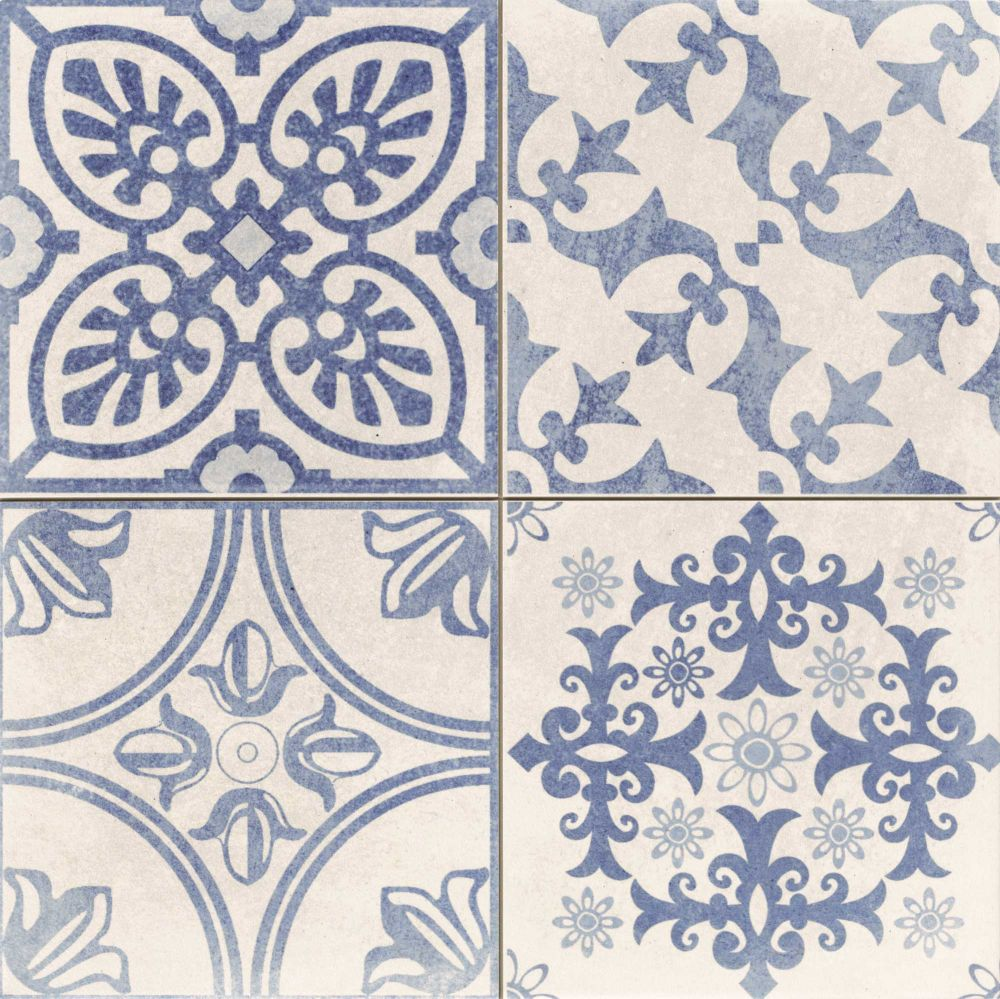 Cuisine Provencale Blanche Et Bleue carrelage style ciment à décors blanc cassé et bleu skyros